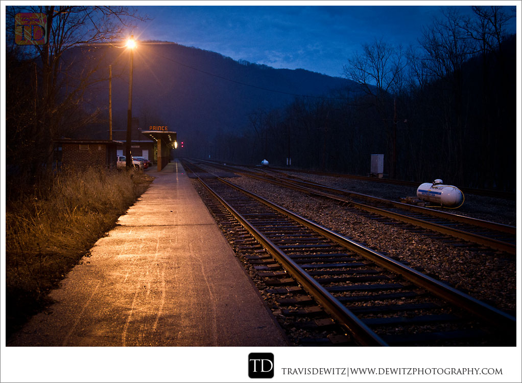 Amtrak Station Platform at Night in Prince West Virginia