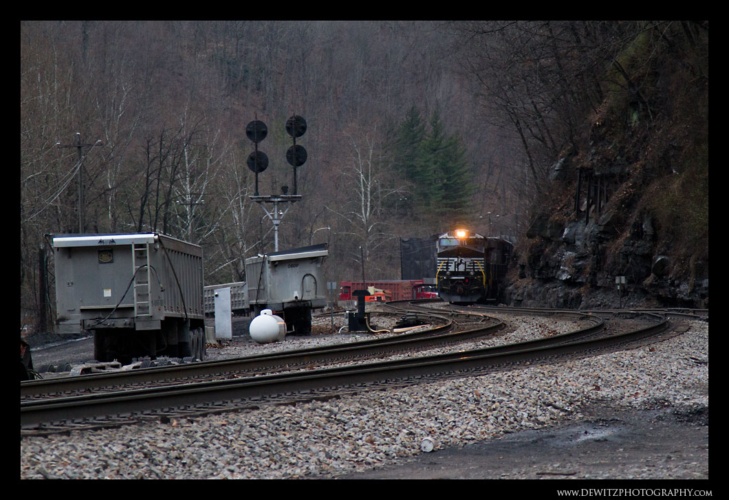 Coal Trucks and NS Coal Train - Keystone WV