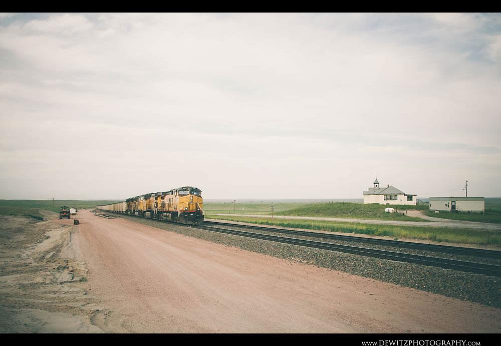 117Union Pacific Train Near Shawnee Wyoming School House