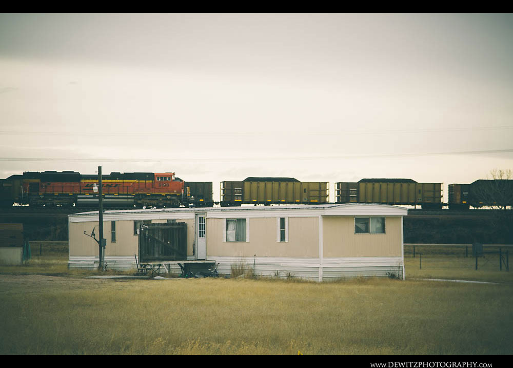 133Coal Trains Pass Along Wyoming Highway 59