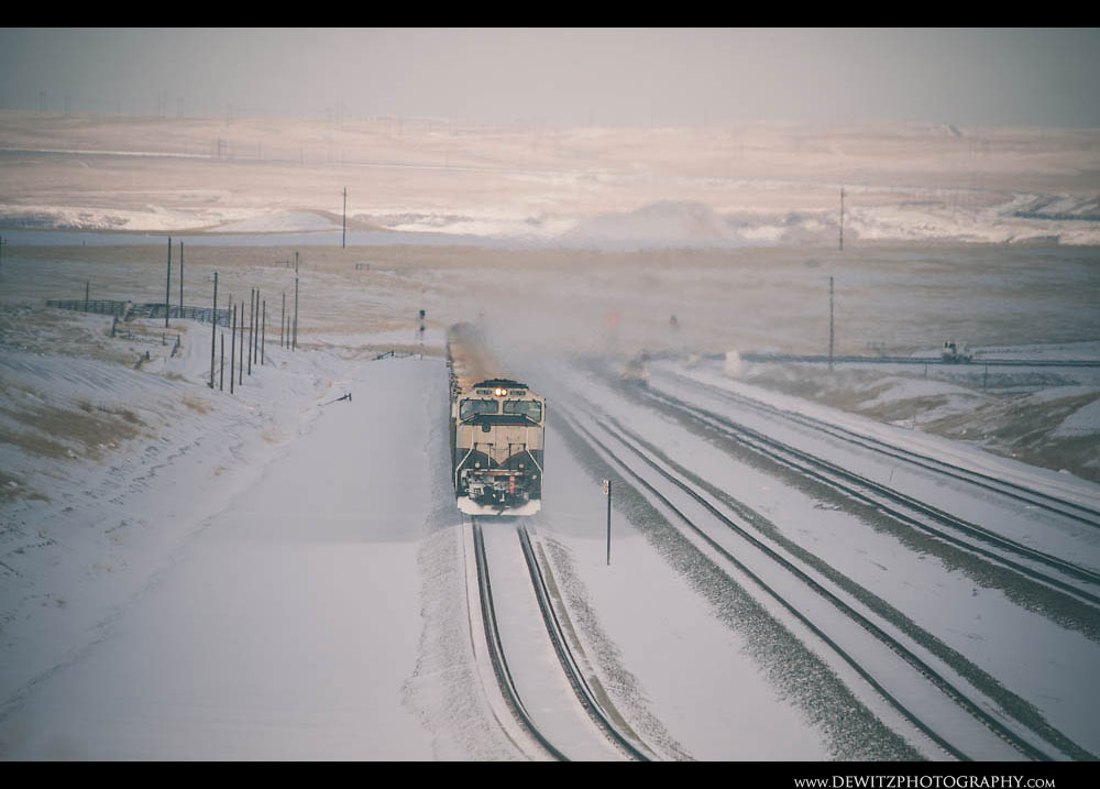 142Burlington Northern Executive Scheme Locomotive Kicks Up Snow on Logan Hill