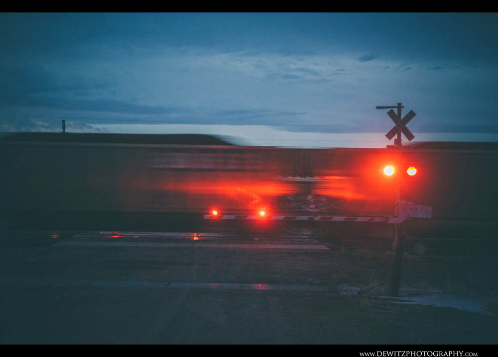 146Coal Cars Fly By Colored in Red Light