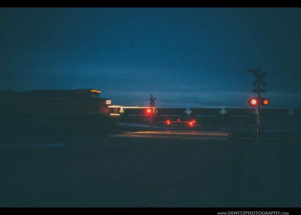 163BNSF Speeds Through Railroad Crossing
