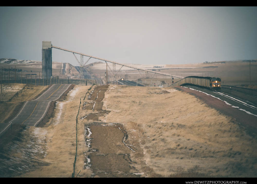 175Black Thunder West Near Wright Wyoming as Coal Train Work Up the Hill