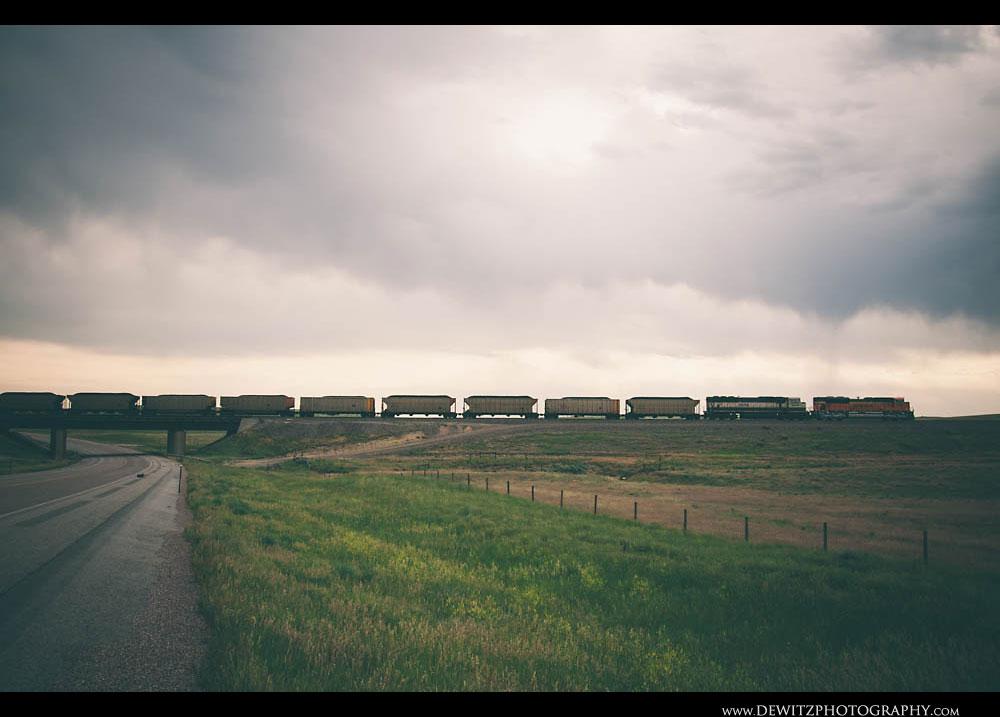 181BNSF Coal Train Crosses Wyoming Highway 59