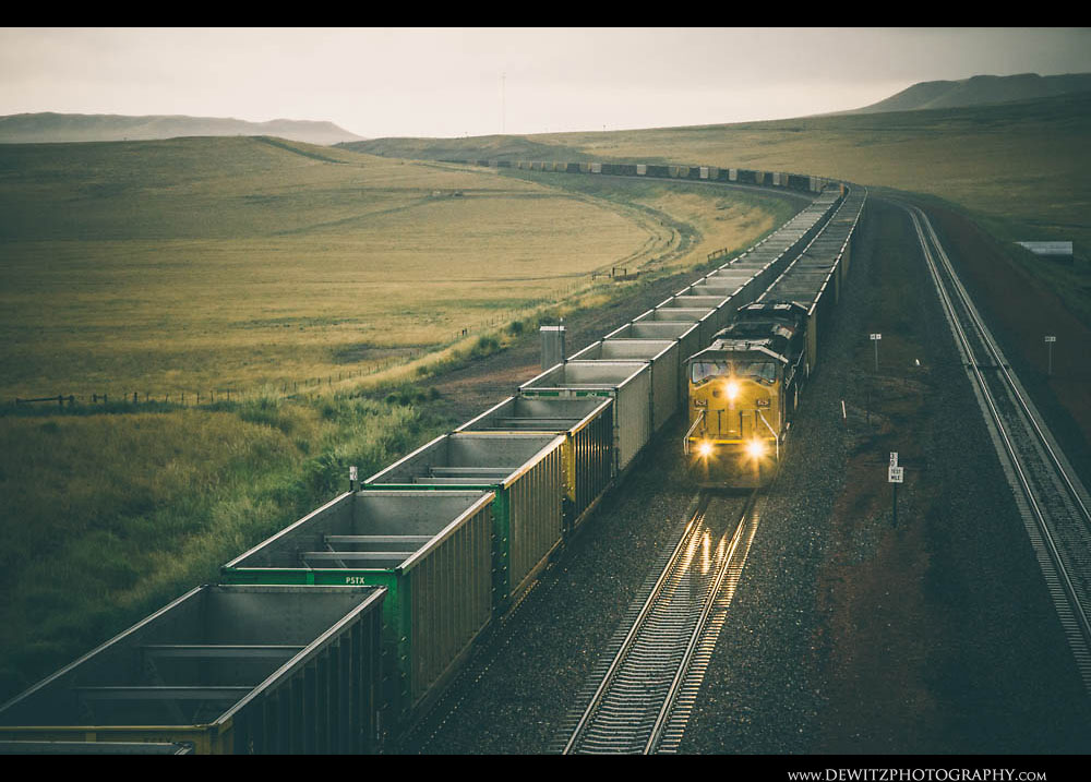 188Coal Trains in Wyoming Thunderstorm