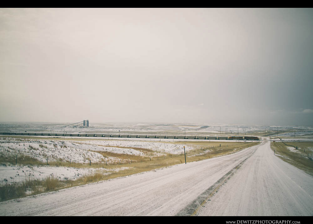 194BNSF Coal Train Heads Across Powder River Basin Near Antelope Coal Mine