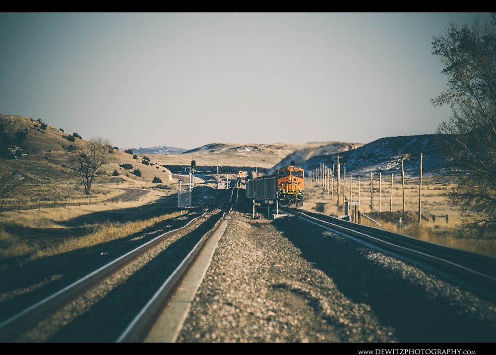 205Hilly Wyoming Landscape with Trains