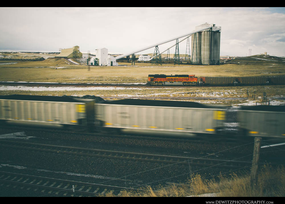220Fully Loaded Hoppers of Coal Flash by the Cordero Mine