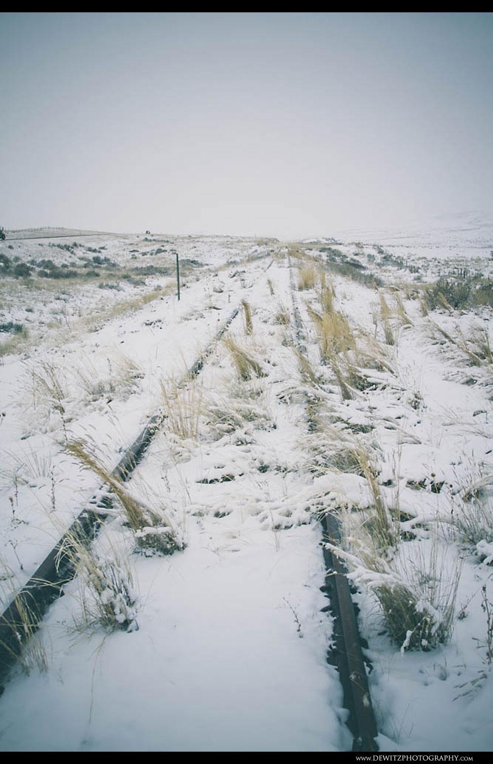 242Abandoned Snow Covered Train Tracks Along the Powder River Basin