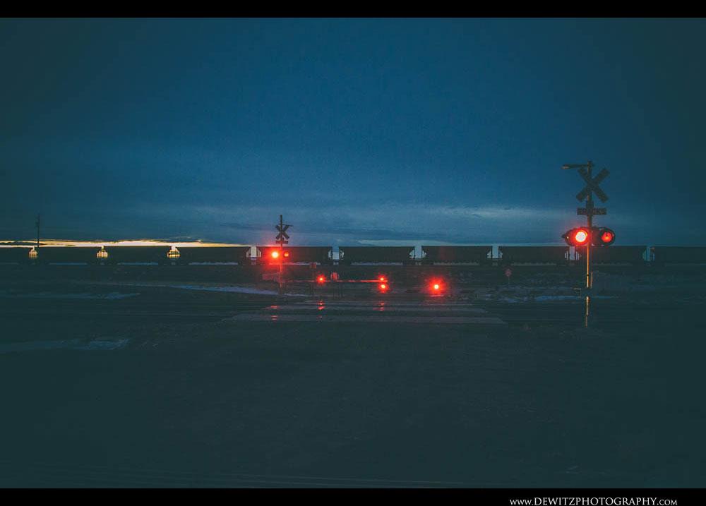 246Railroad Crossing and Coal Cars at Night