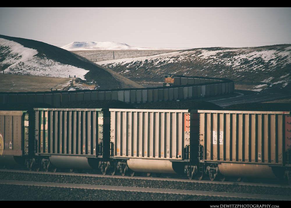 251Loaded BNSF Coal Train Travels Up the Orin Sub