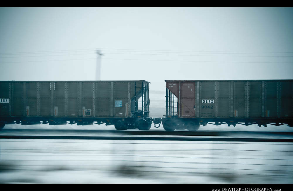 256Coal Cars Fly Along Orin Sub During Snow Storm