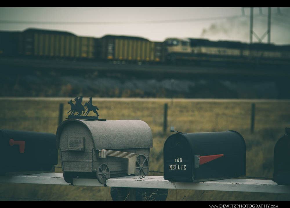 277Covered Wagon Mailbox With Cowboys