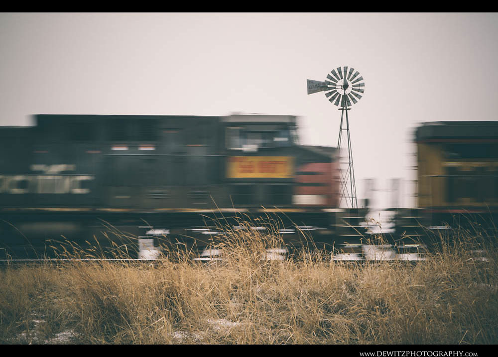 278Union Pacific Ex Southern Pacific Locomotive Flashes Along the Powder River Basin