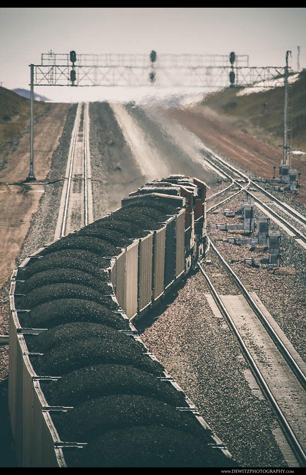 321Loaded Coal Cars Climb the Hill