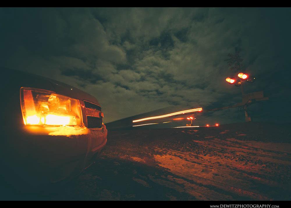 328Railroad Crossing at Night Near Donkey Creek