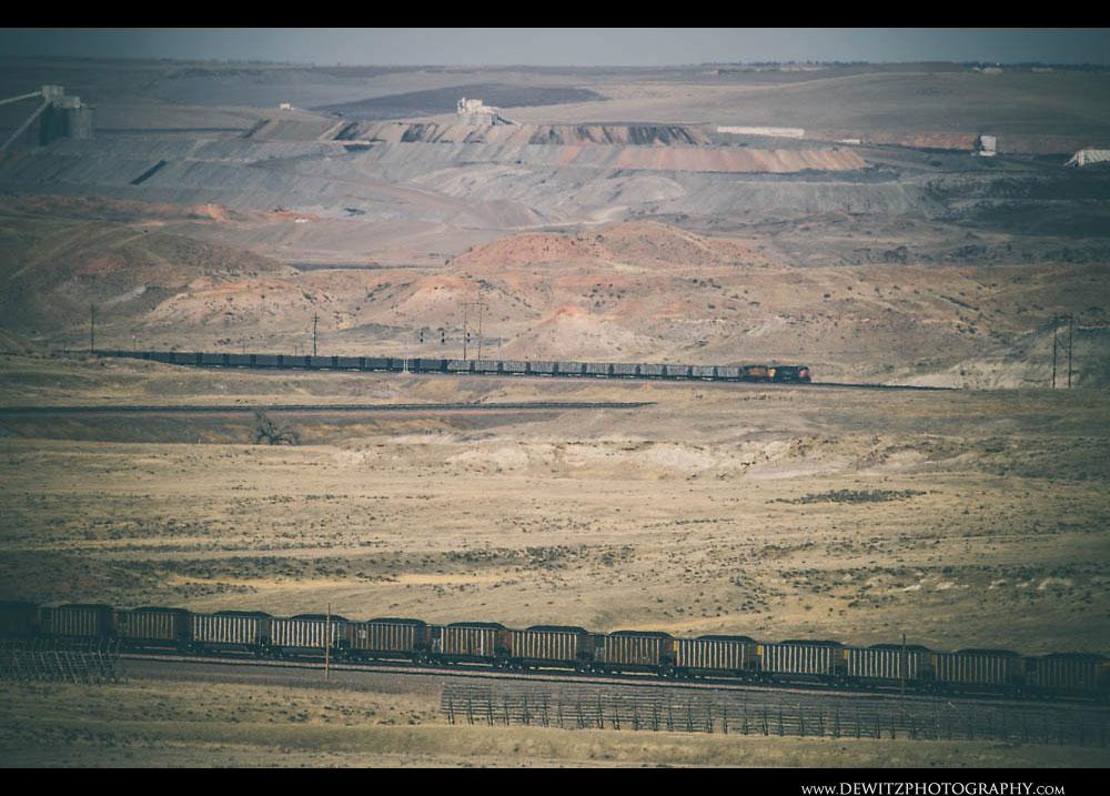 351Two Coal Trains in PRB Coal Fields