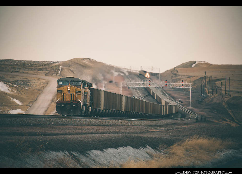 364Two UP Trains Meet on the Hill in the Basin