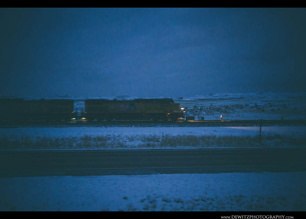 3American Flag Union Pacific Coal Train at Dusk