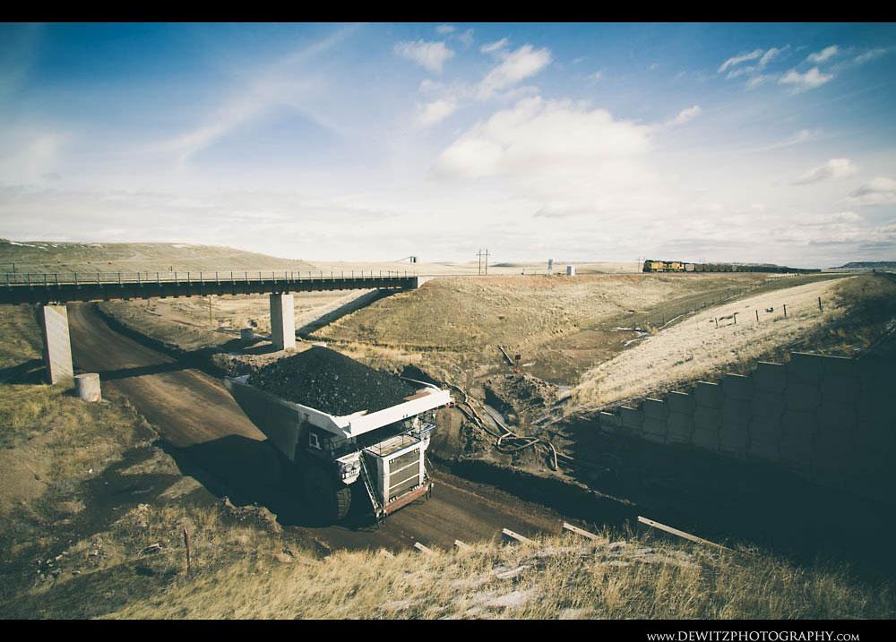 50Black Thunder Coal Haul Truck Under Railroad Bridge