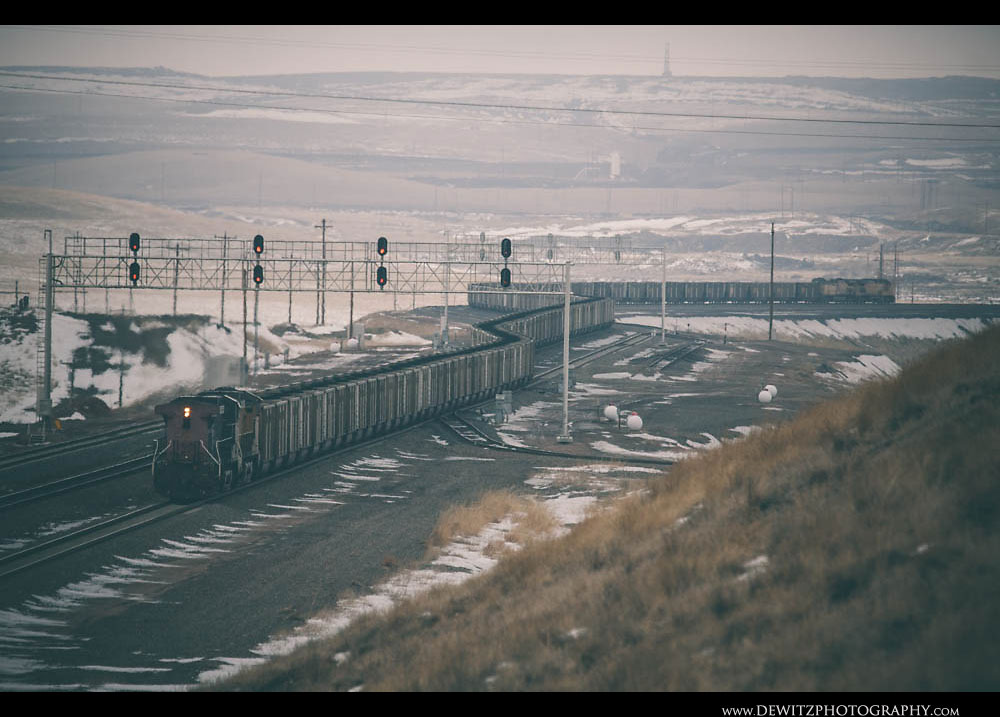 72An Entire Coal Train Can Be Seen Snaking Down Grade South of Gillette Wyoming