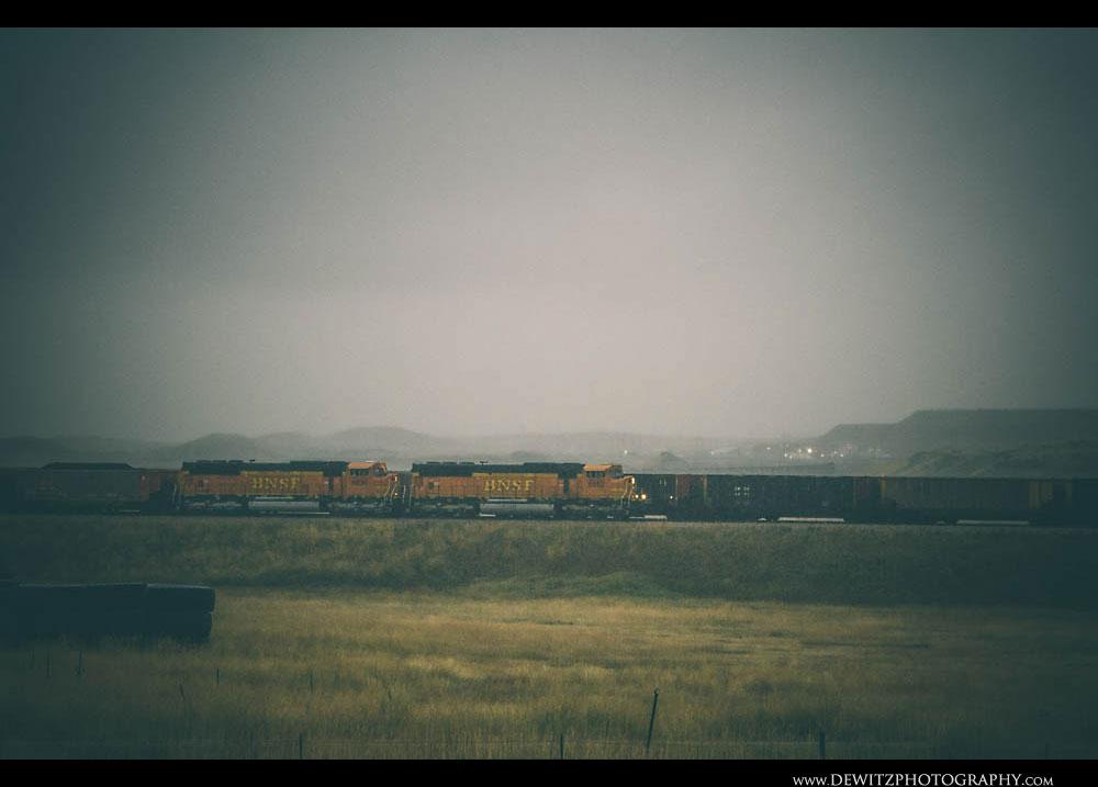 73BNSF Coal Trains in the Rainy Powder River Basin