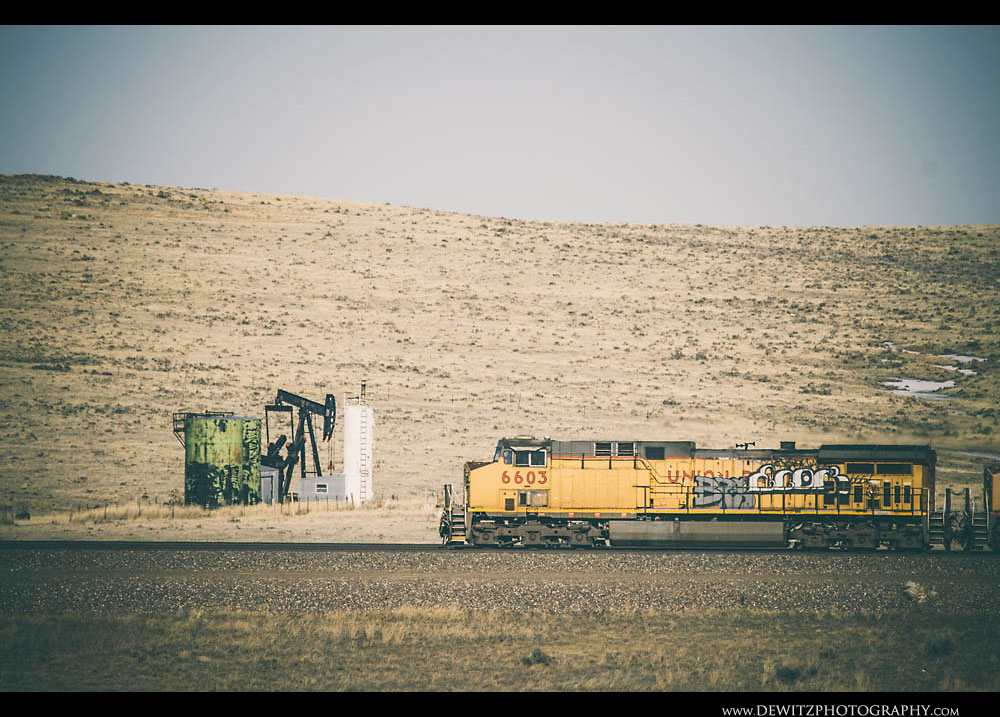 99Union Pacific Locomotive Tagged with Grafitti with Oil Jackpump