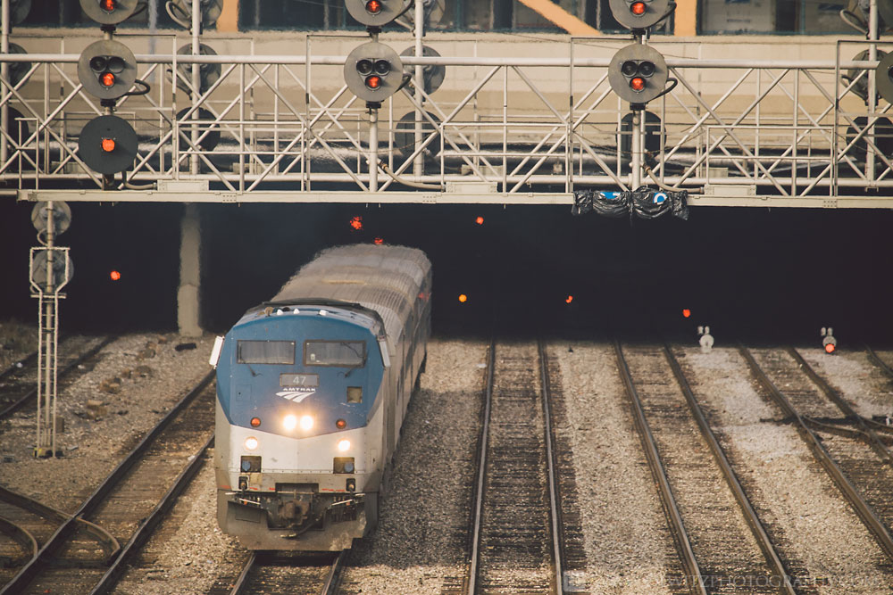 The Infrastructure that Feeds Chicago Union Station - Amtrak Train Charges Out of Station Under Red Signals