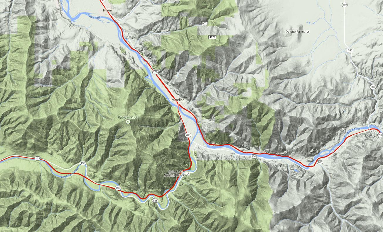 Paradise Montana Historical Railroad Geography Series - Montana topo map