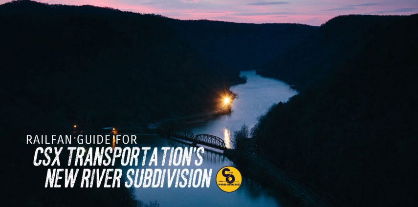 The yellow glow of another CSX coal train slowly glides along the New River in the dawn darkness as the sun slowly begins to rise and paint the sky in shades of pinks and violets.