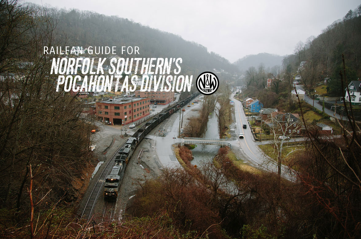 An empty Norfolk Southern coal train rolls west through Welch, West Virginia on a foggy March morning.