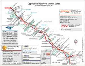 Upper Mississippi River Railroad Guide Map