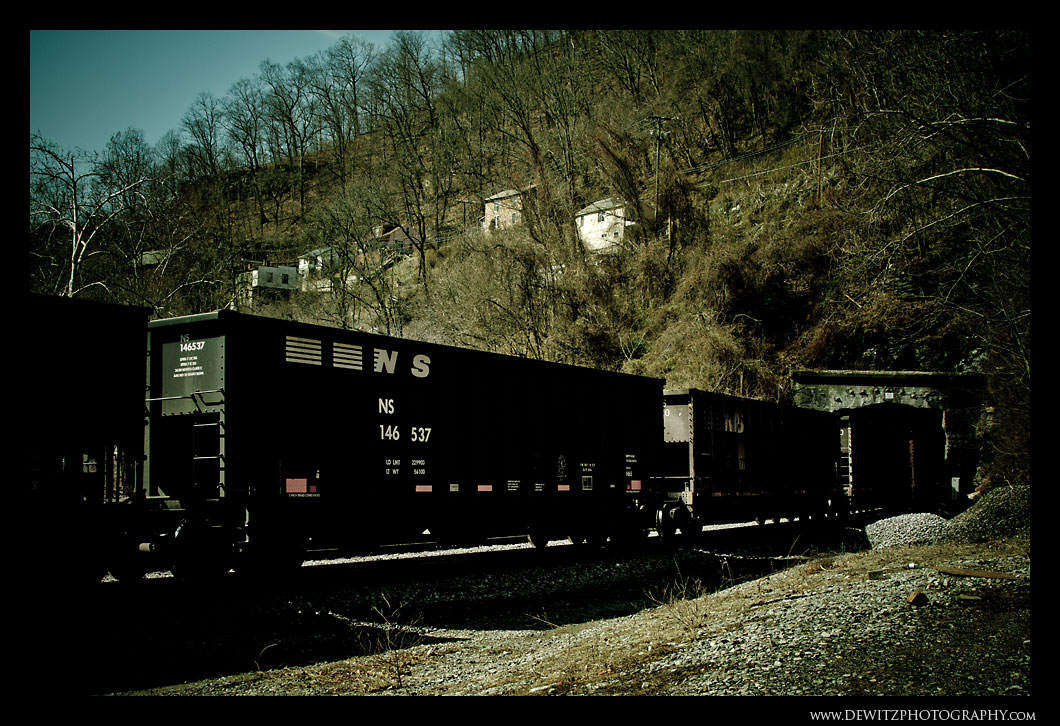 Coal Train Through the Tunnel Under Welch WV