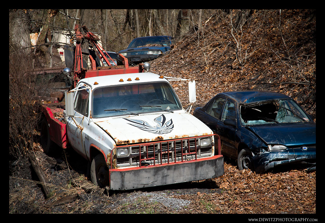 Junk Yard - Tow Truck with a Firebird on the Hood