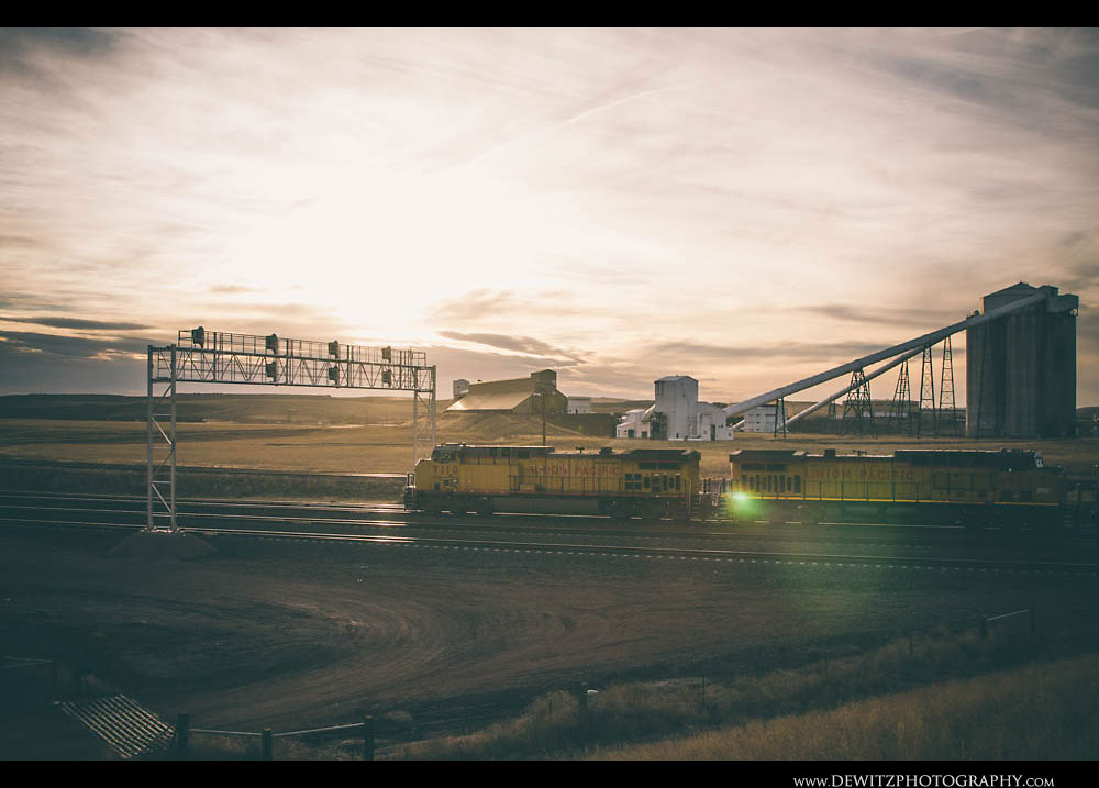 136Union Pacific Coal train at Sunset with Signal Bridge