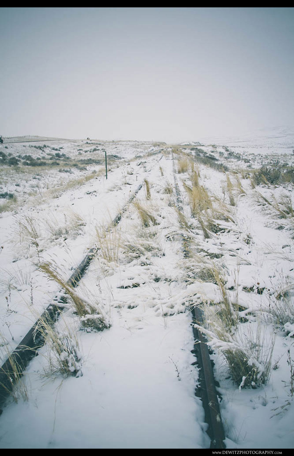 242Abandoned Snow Covered Train Tracks Along the Powder River Basin