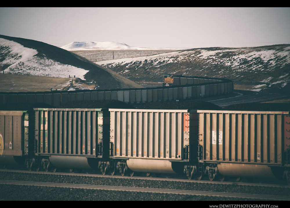 251Loaded BNSF Coal Train Travels Up the Orin Sub