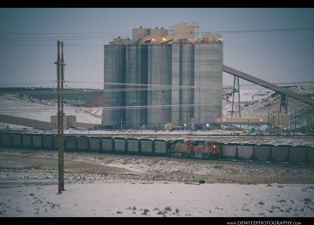 279Coal Silos From the Dry Fork Mine Tower Over another Coal Train