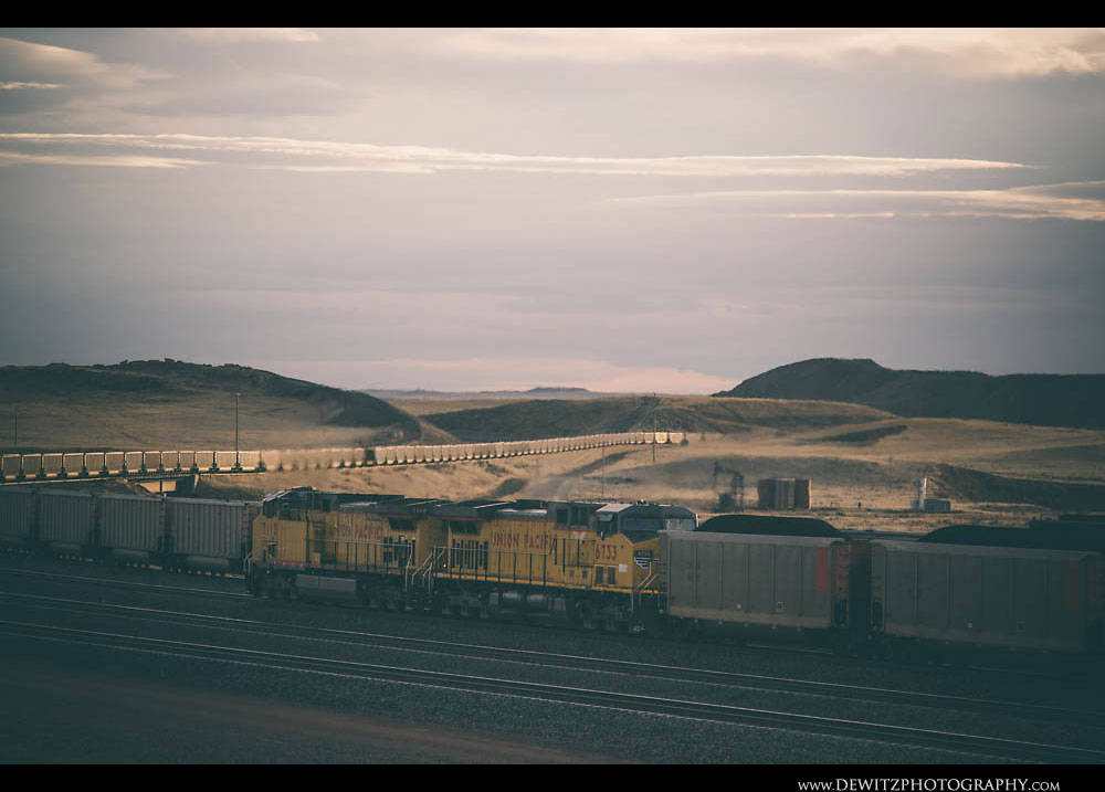 288Trains Meet at Sunset Near Cordero Mine