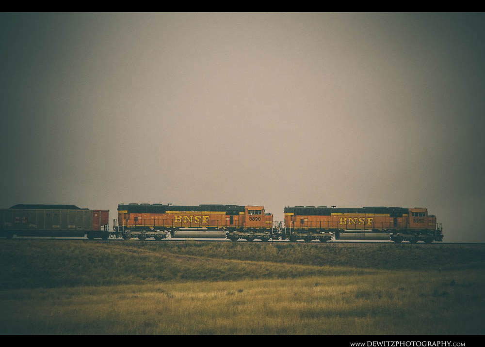 331BNSF SD70MACs in the Rain