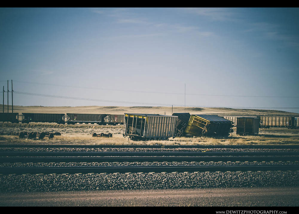 343Derailed Coal Hoppers at Car Shop Near Bill Wyoming