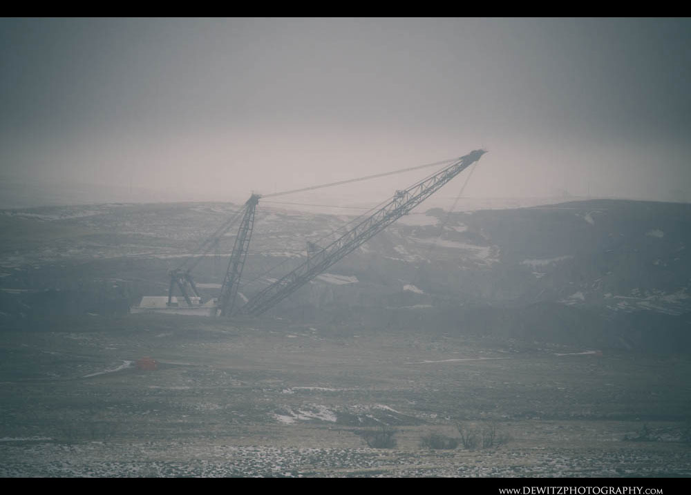366A Frozen Haze Almost Hides a Huge Coal Dragline