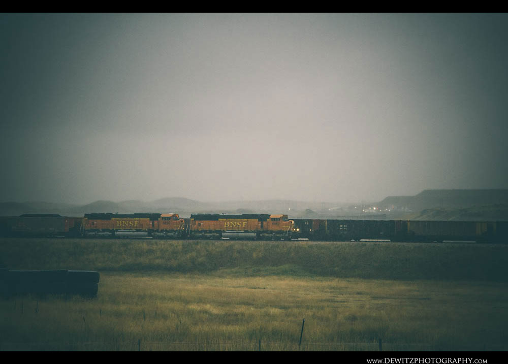 73BNSF Coal Trains in the Rainy Powder River Basin