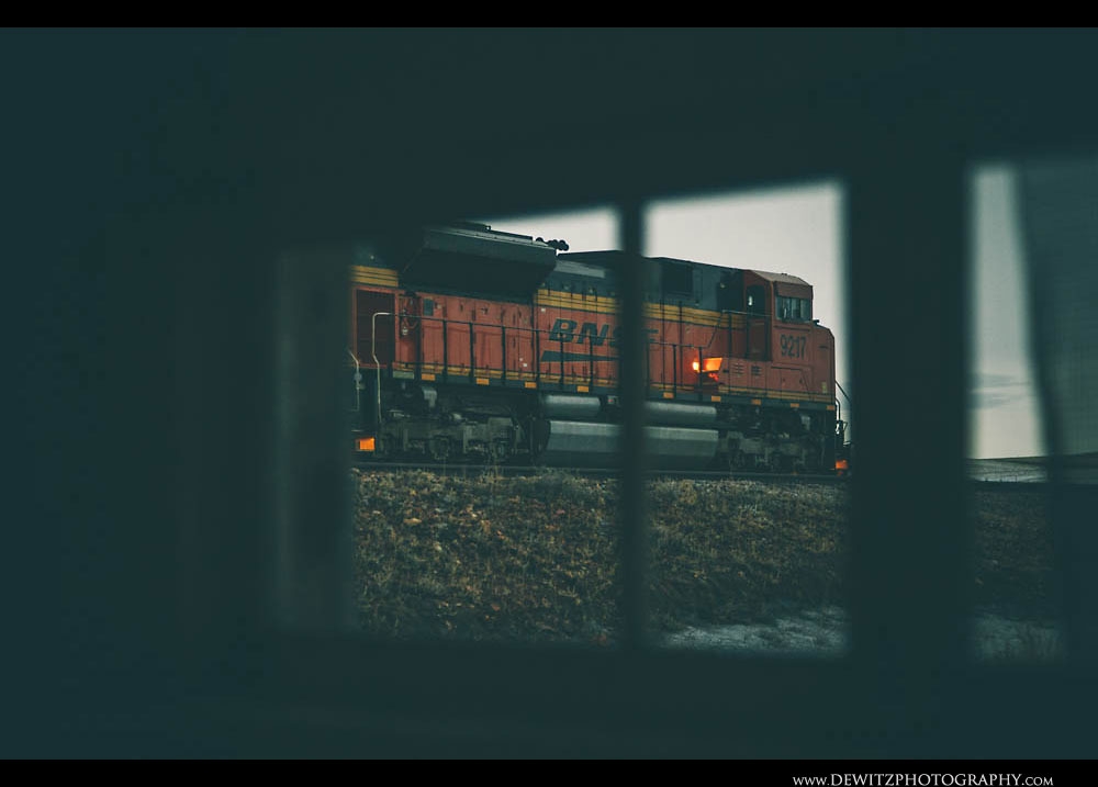 93Looking Out the Window at a BNSF Locomotive