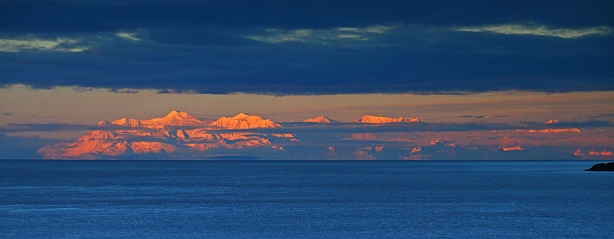 A beautiful sunrise lights up the Alaska Range.