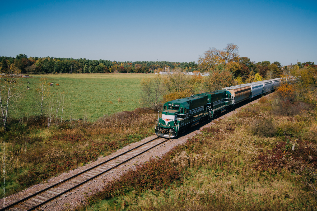 The almost daily Wisconsin Northern train heads south out of Cameron, Wisconsin to Norma. These tracks use to be a part of the Chicago and North Western's route between Eau Claire and Superior.
