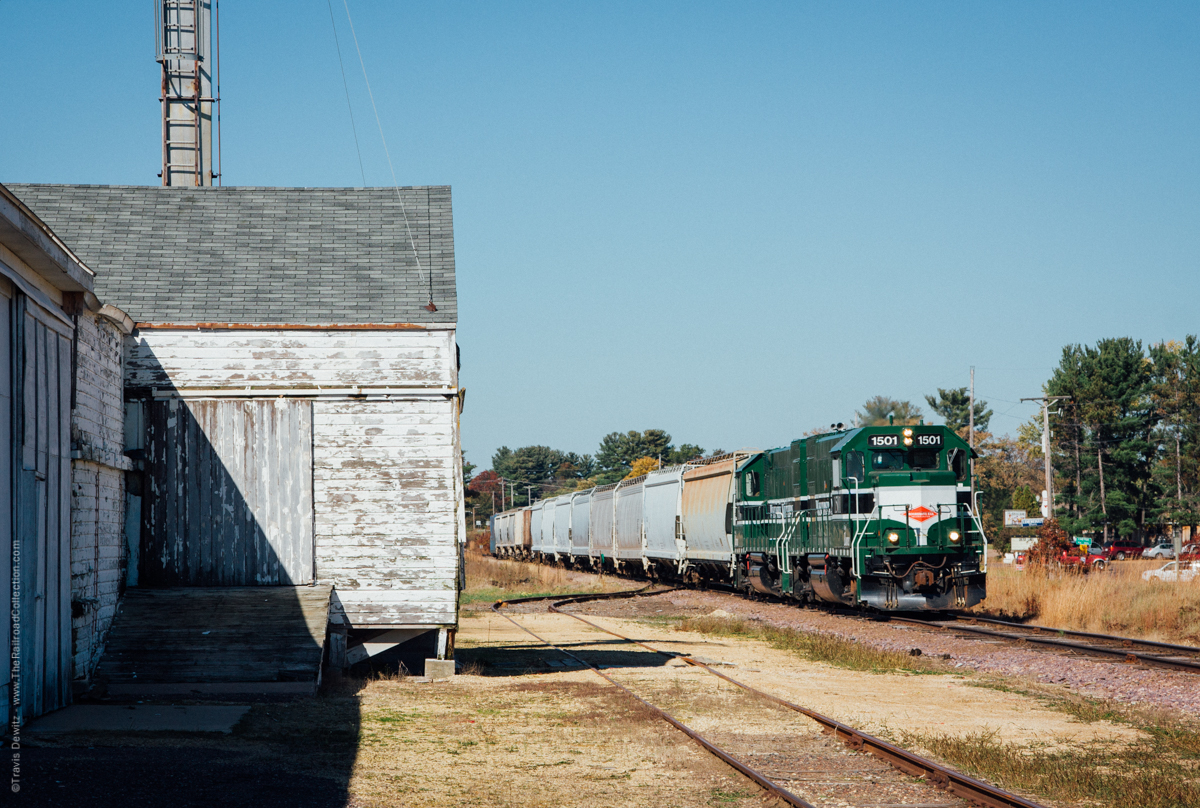 Wisconsin Northern 1501 leads south out of Chetek, Wisconsin towards Chippewa Falls.