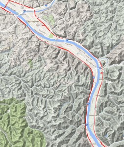 CSX New River Gorge Railroad Terrain Map Charleston