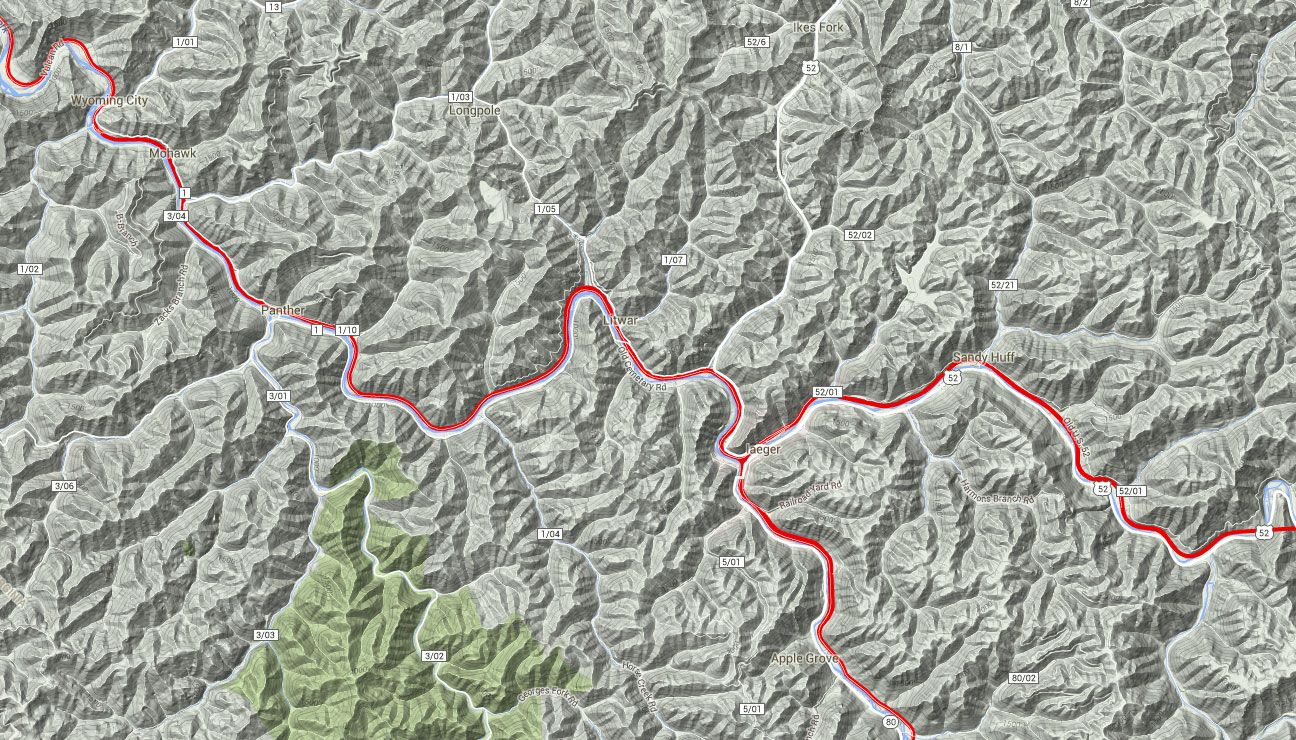 Norfolk Southern Railroad Pocahontas Route Terrain Map - Click to Enlarge